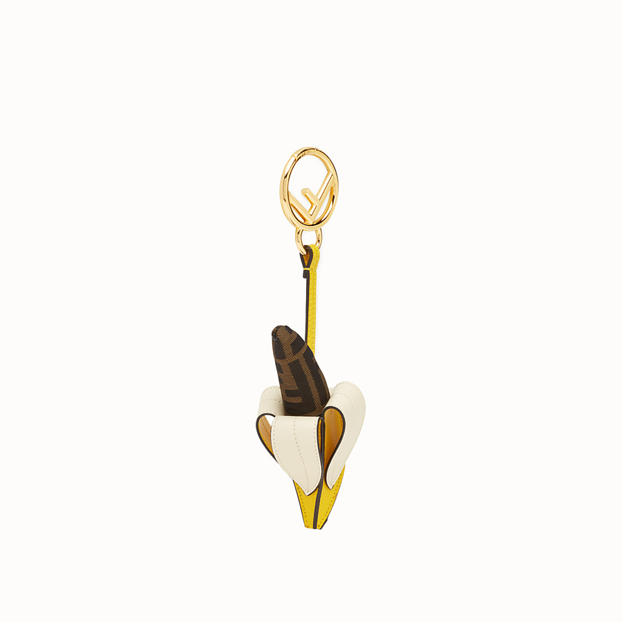 FENDI BANANA CHARM - Multicolour leather and jacquard charm - view 1 detail