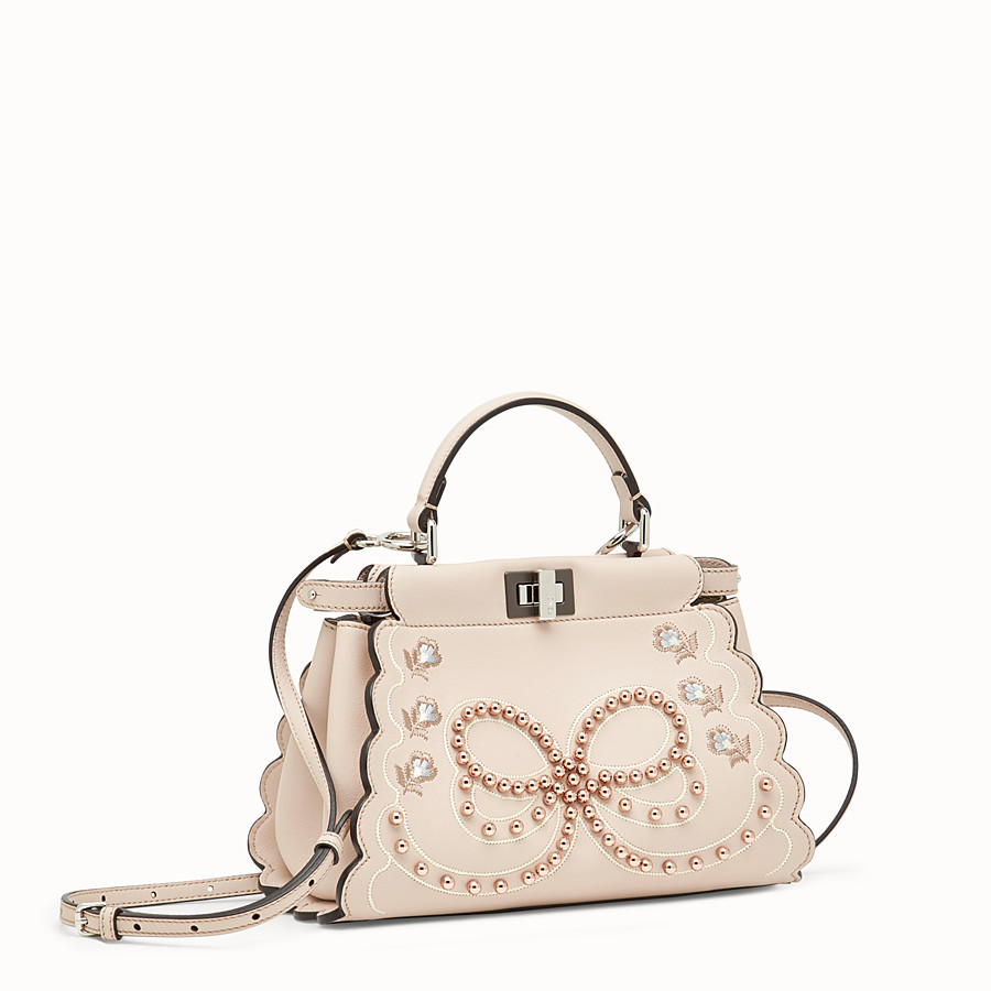 FENDI PEEKABOO MINI - Pink leather bag - view 2 detail