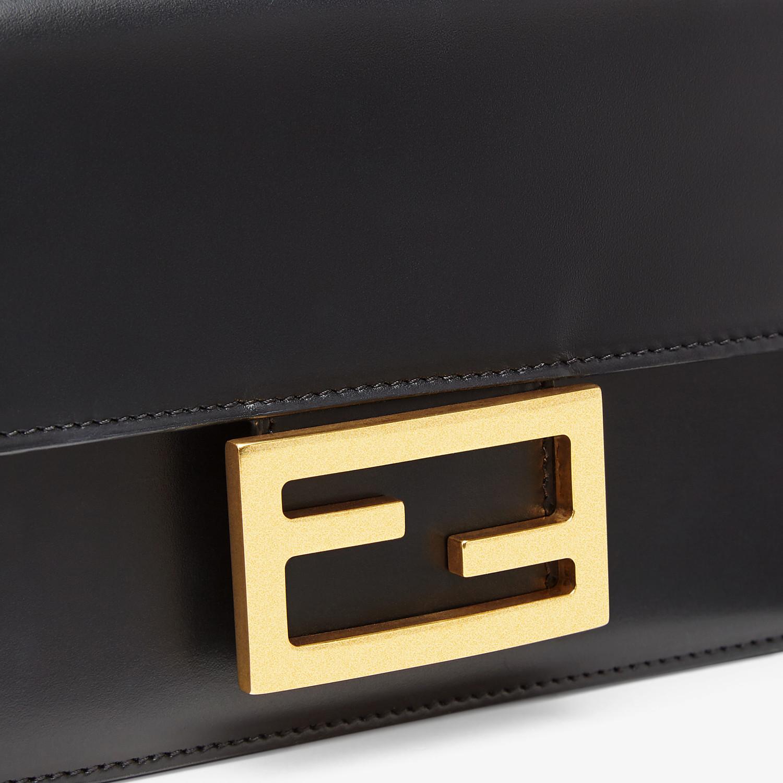 FENDI FLAT BAGUETTE - Black leather mini-bag - view 6 detail