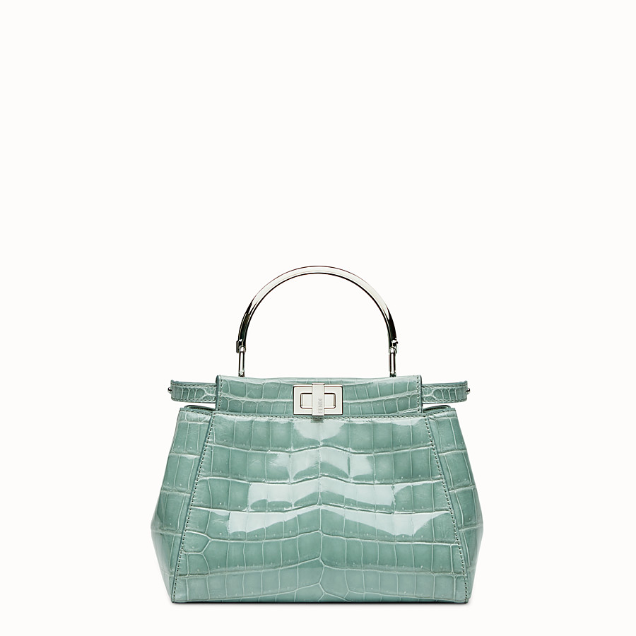 FENDI PEEKABOO MINI - Mint green crocodile leather handbag. - view 1 detail