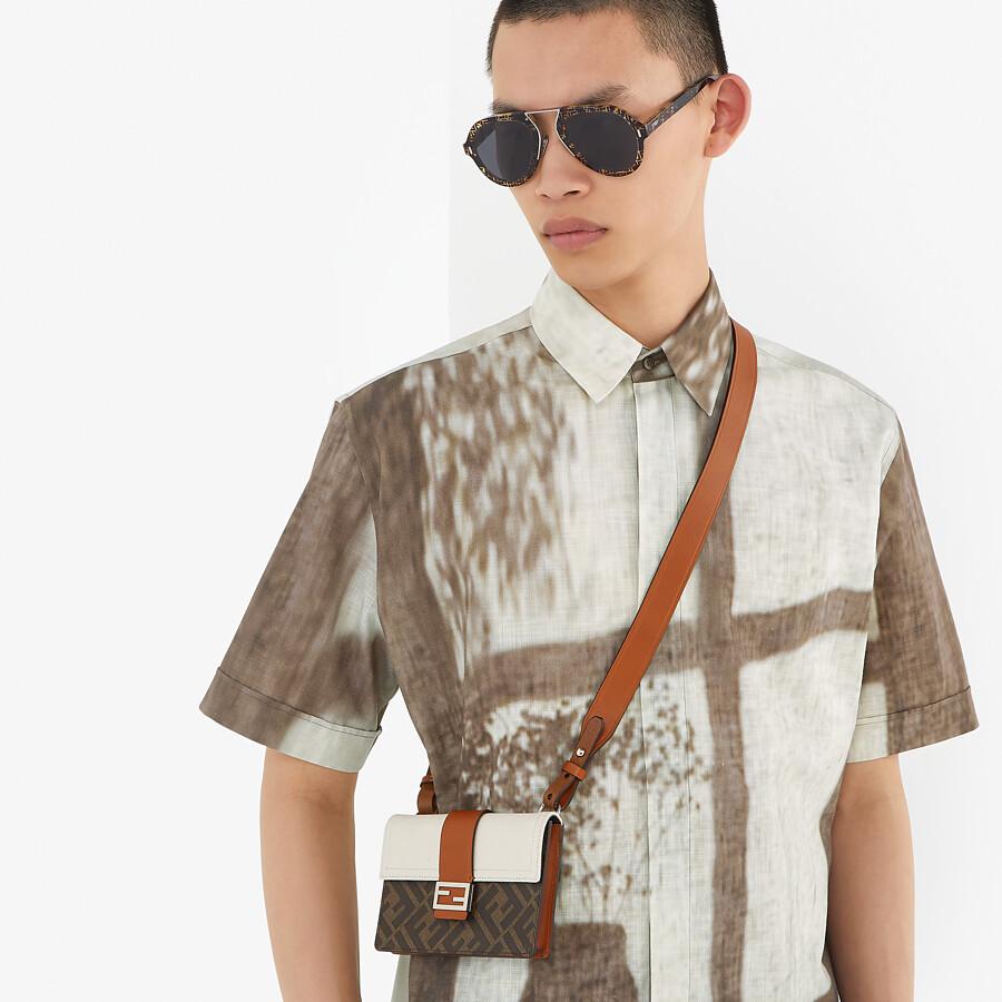 FENDI T-SHIRT - White linen T-shirt - view 4 detail