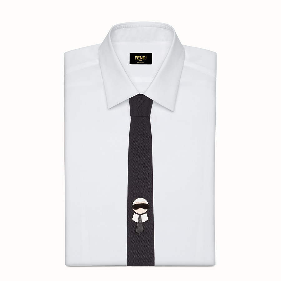 FENDI TIE - in black silk twill with inlay - view 2 detail