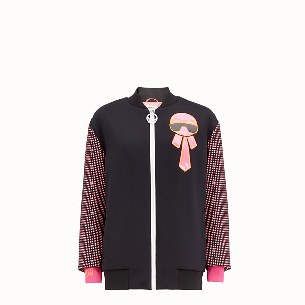 FENDI BOMBER - Black and fuchsia fabric sweatshirt - view 1 small thumbnail