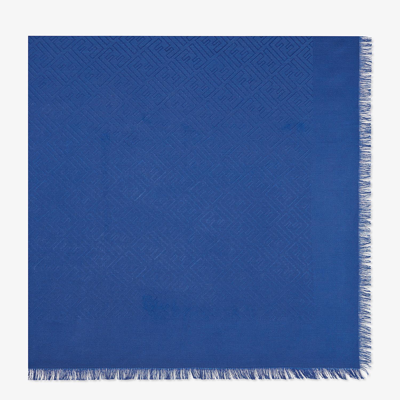 FENDI FF SHAWL - Shawl in blue wool and silk - view 1 detail
