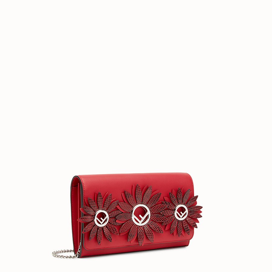 FENDI WALLET ON CHAIN WITH LOGO - Exotic red leather mini-bag - view 2 detail