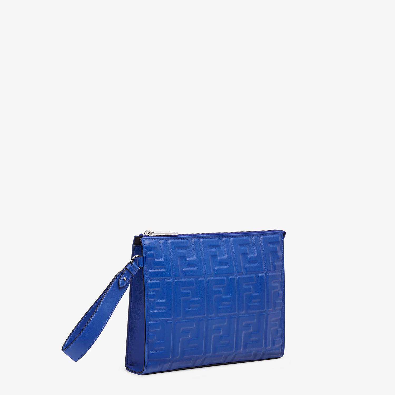 FENDI FLAT POUCH - Blue nappa leather pouch - view 2 detail