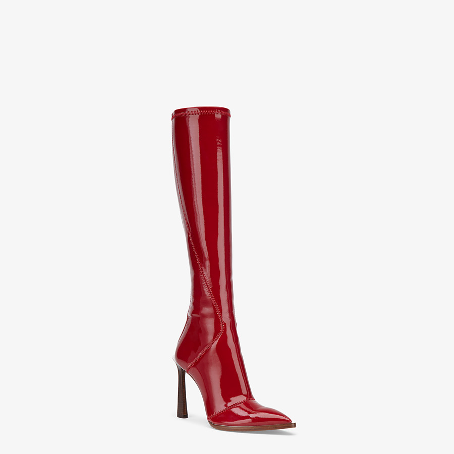 FENDI BOOTS - Glossy red neoprene boots - view 2 detail