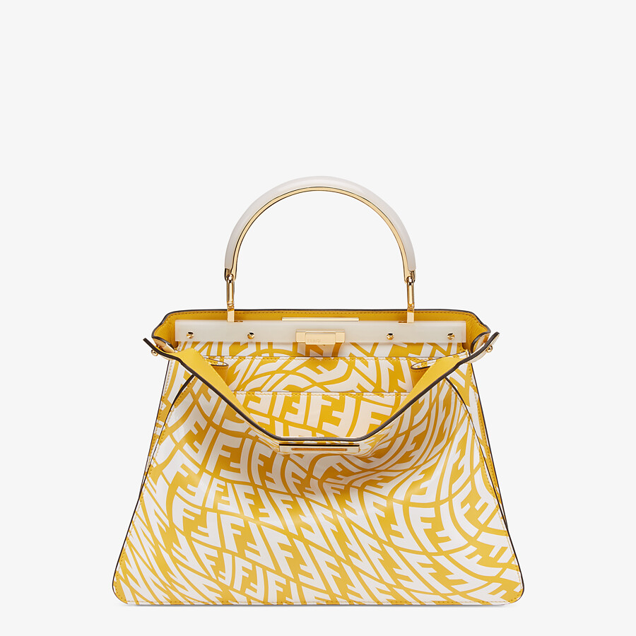 FENDI PEEKABOO ISEEU MOYEN - Sac en cuir FF Vertigo jaune et blanc - view 1 detail