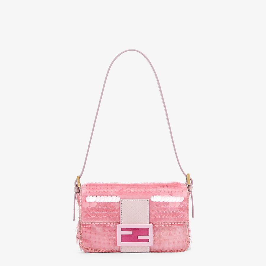 FENDI MINI BAGUETTE 1997 - Pink satin bag with sequins - view 1 detail