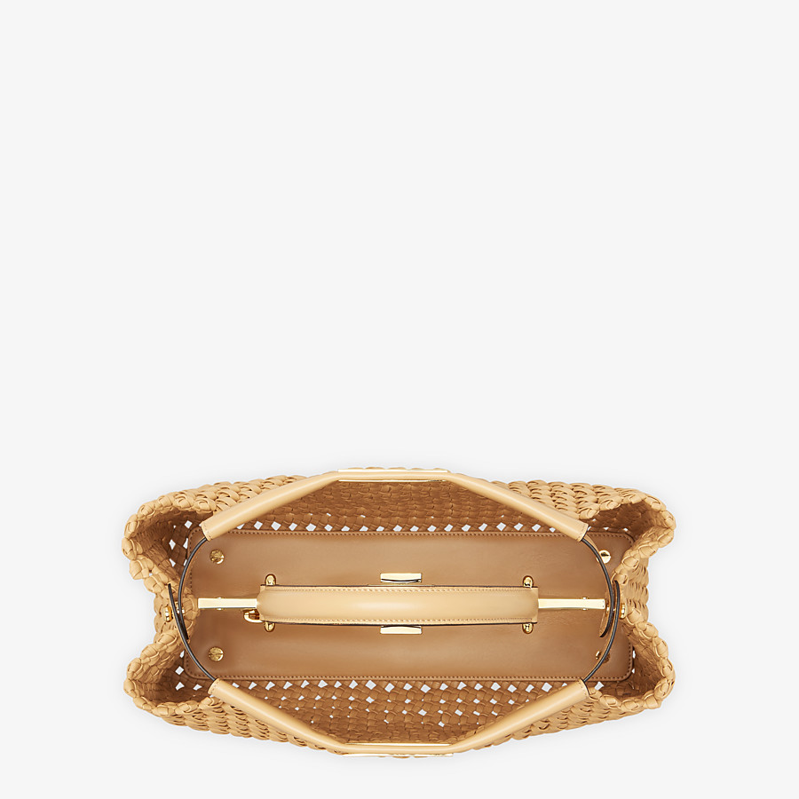 FENDI PEEKABOO ICONIC MEDIUM - Beige leather interlace bag - view 5 detail
