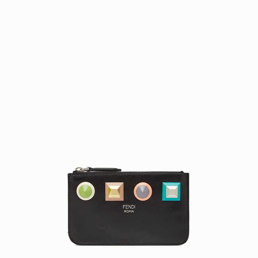 FENDI KEY RING POUCH - Black leather keyring - view 1 detail