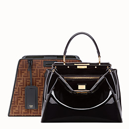 154b3260b81 Black patent leather bag with cover - PEEKABOO DEFENDER   Fendi