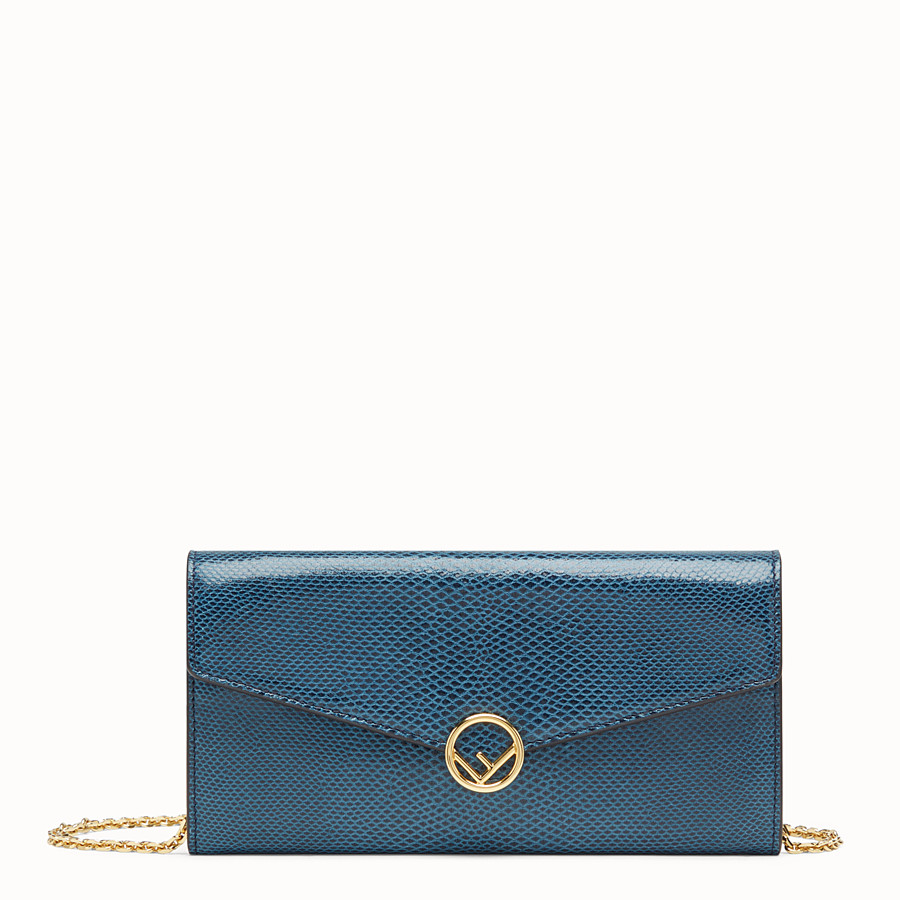 FENDI CONTINENTAL WITH CHAIN - Blue karung wallet - view 1 detail