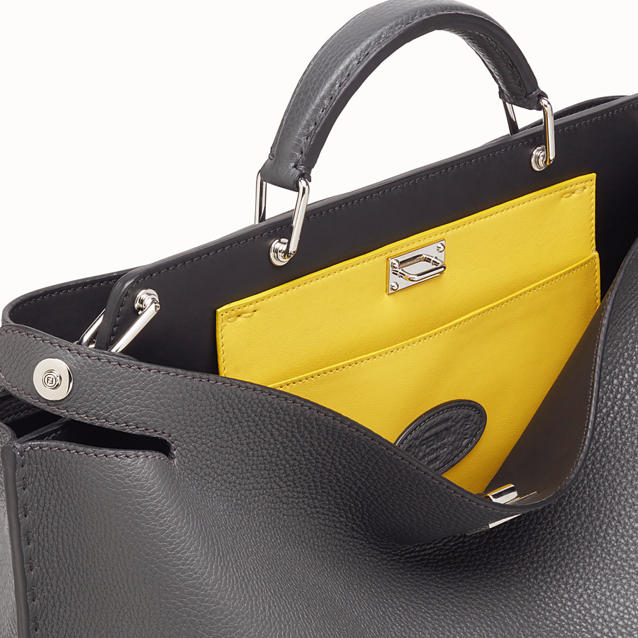 FENDI PEEKABOO ICONIC ESSENTIAL - Grey leather bag - view 5 detail