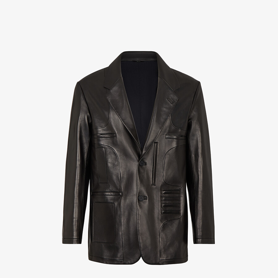 FENDI JACKET - Black leather jacket - view 1 detail