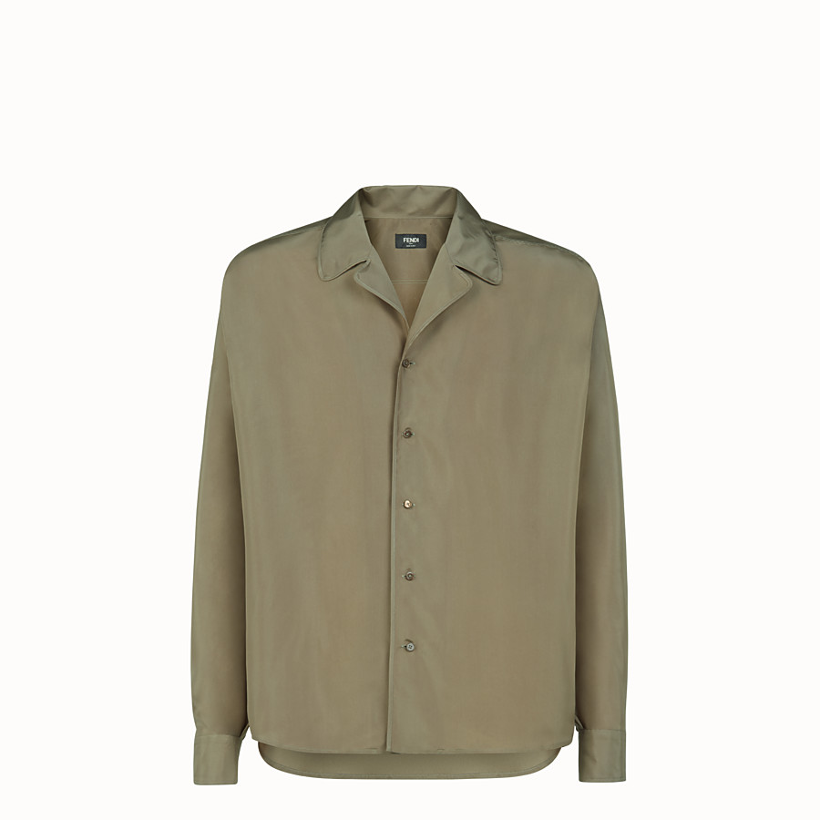 FENDI SHIRT - Green silk shirt - view 1 detail