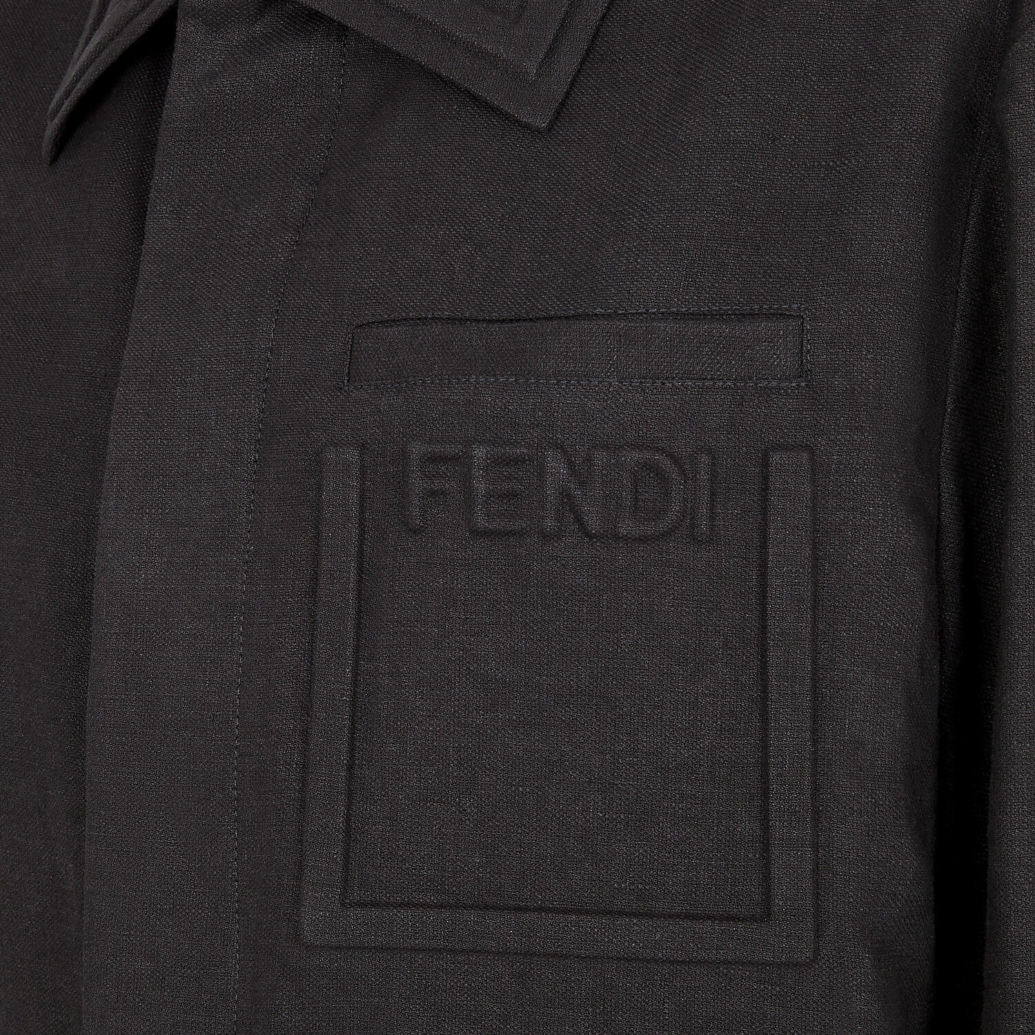 FENDI CAR COAT - Black linen jacket - view 3 detail