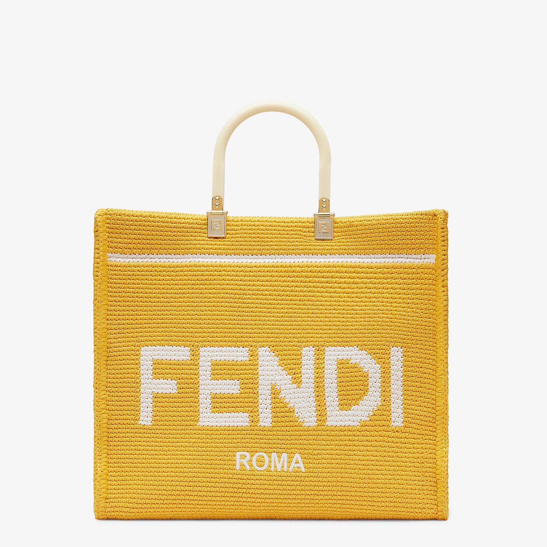 FENDI FENDI SUNSHINE MEDIUM - Yellow cotton crochet shopper - view 1 detail