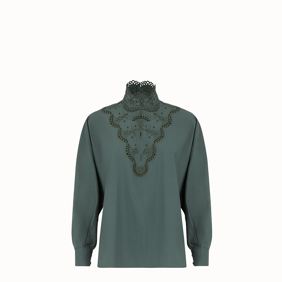 FENDI BLOUSE - Green cotton top - view 1 detail