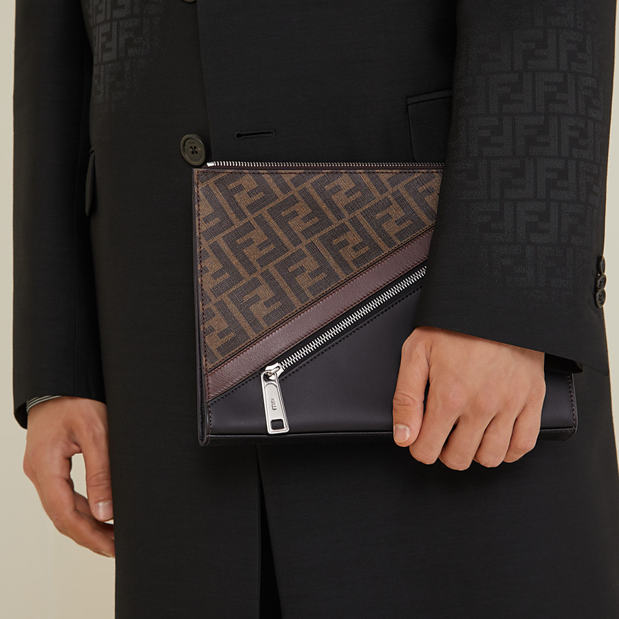 FENDI CLUTCH - Brown fabric pochette - view 6 detail