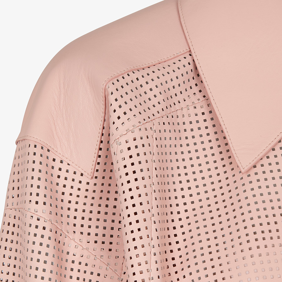 FENDI JACKET - Pink leather jacket - view 3 detail