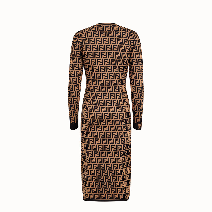 FENDI DRESS - Brown viscose dress - view 2 detail