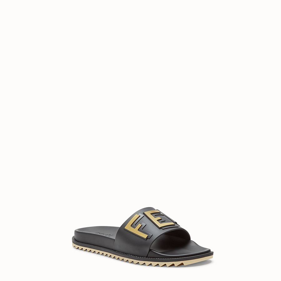FENDI SLIDES - Black rubber slides - view 2 detail