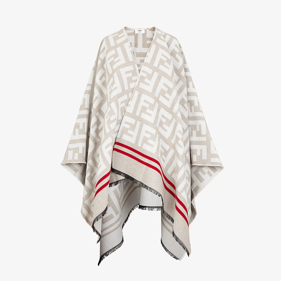 FENDI FF PONCHO - Multicolor wool and silk poncho - view 1 detail