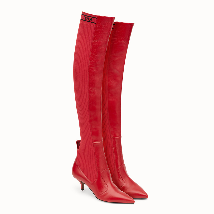 FENDI BOOTS - Red leather thigh-high boots - view 4 detail