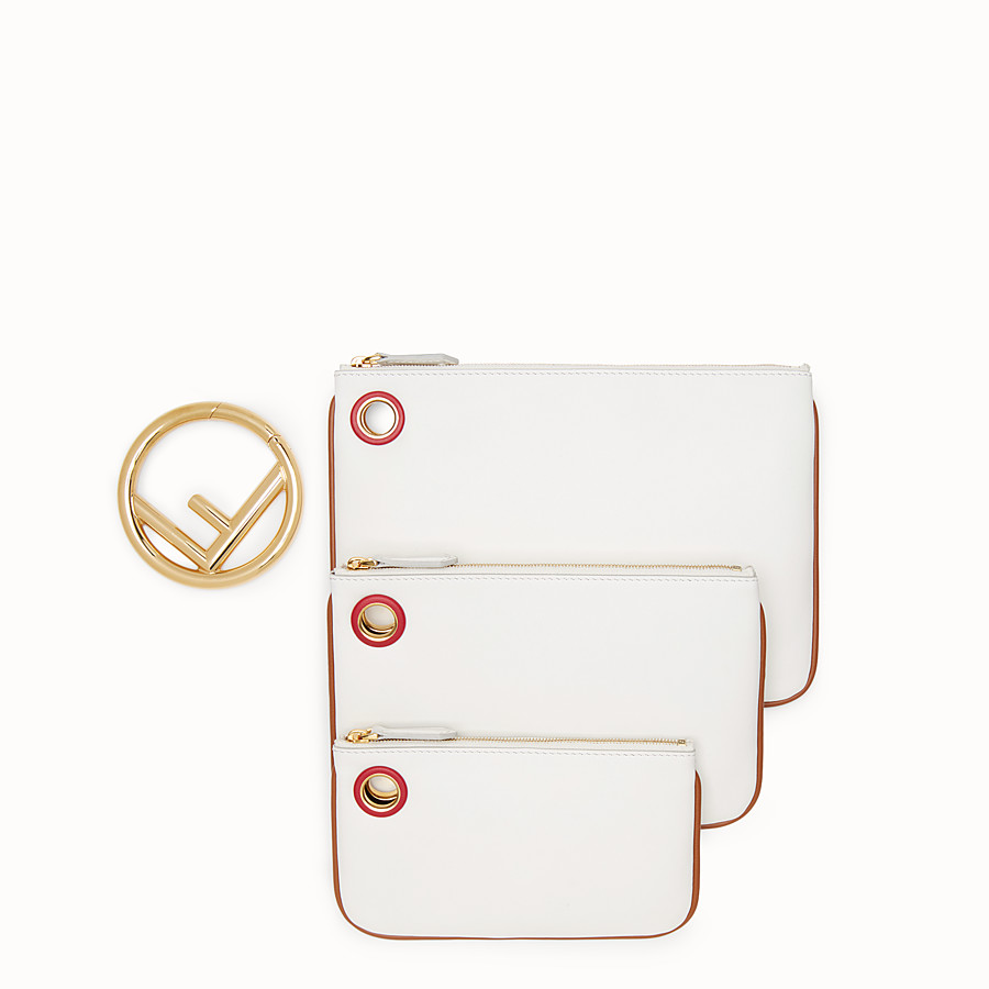 FENDI TRIPLETTE - White leather pouch - view 2 detail