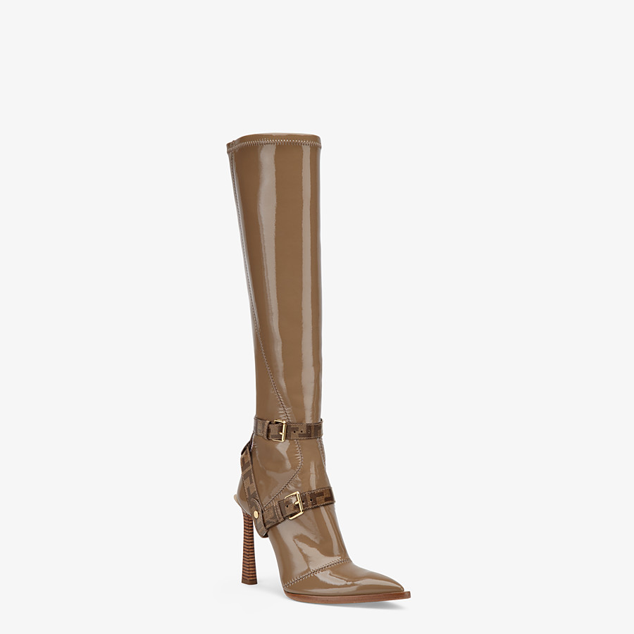 FENDI BOOTS - Glossy beige neoprene boots - view 2 detail