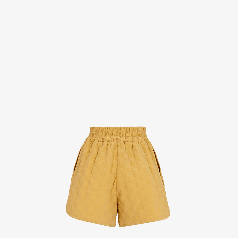 FENDI SHORTS - Yellow quilted crêpe de chine shorts - view 2 detail