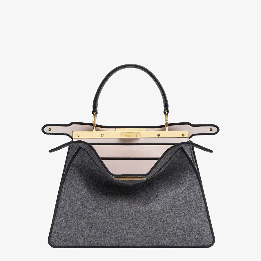 FENDI MEDIUM PEEKABOO ISEEU - Gray flannel bag - view 3 detail