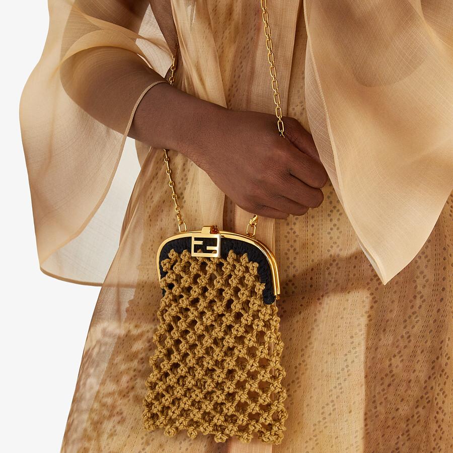 FENDI BAGUETTE PHONE BAG - Beige fabric mini-bag - view 5 detail