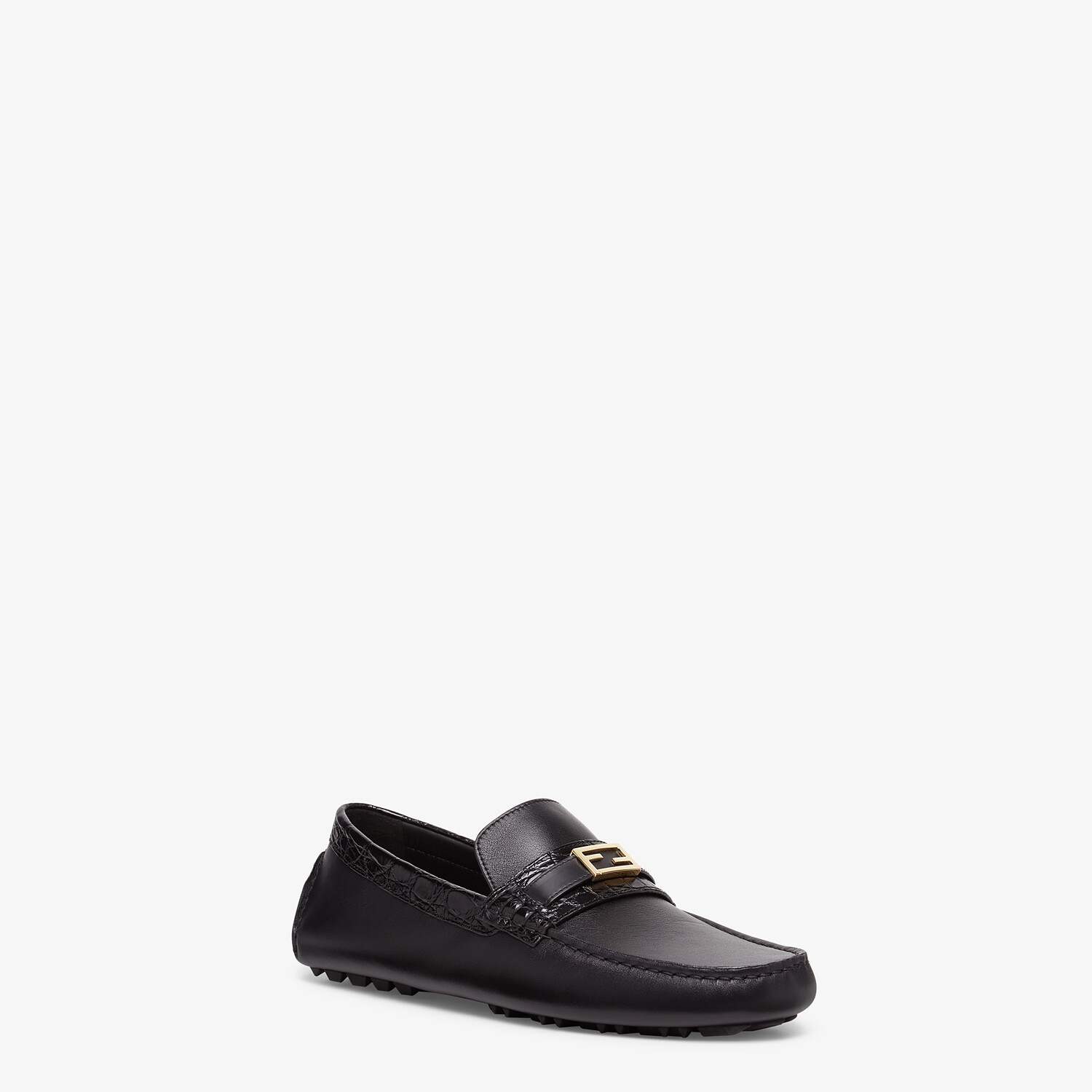 FENDI LOAFERS - Black leather and caiman drivers. - view 2 detail