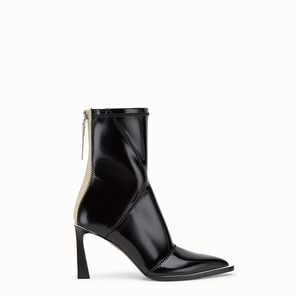 FENDI BOOTS - Glossy black neoprene ankle boots - view 1 small thumbnail