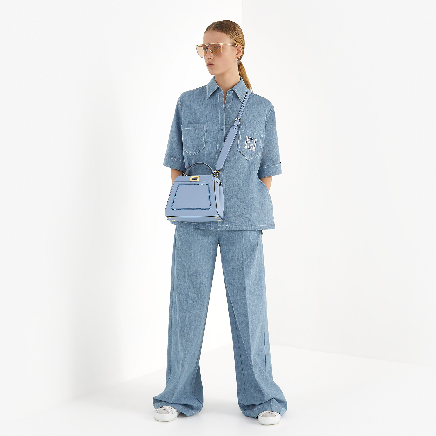 FENDI TROUSERS - Light blue chambray trousers - view 4 detail