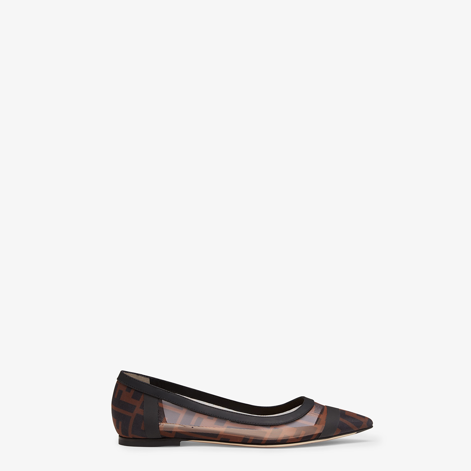 FENDI BALLERINAS - Mesh and black leather flats - view 1 detail