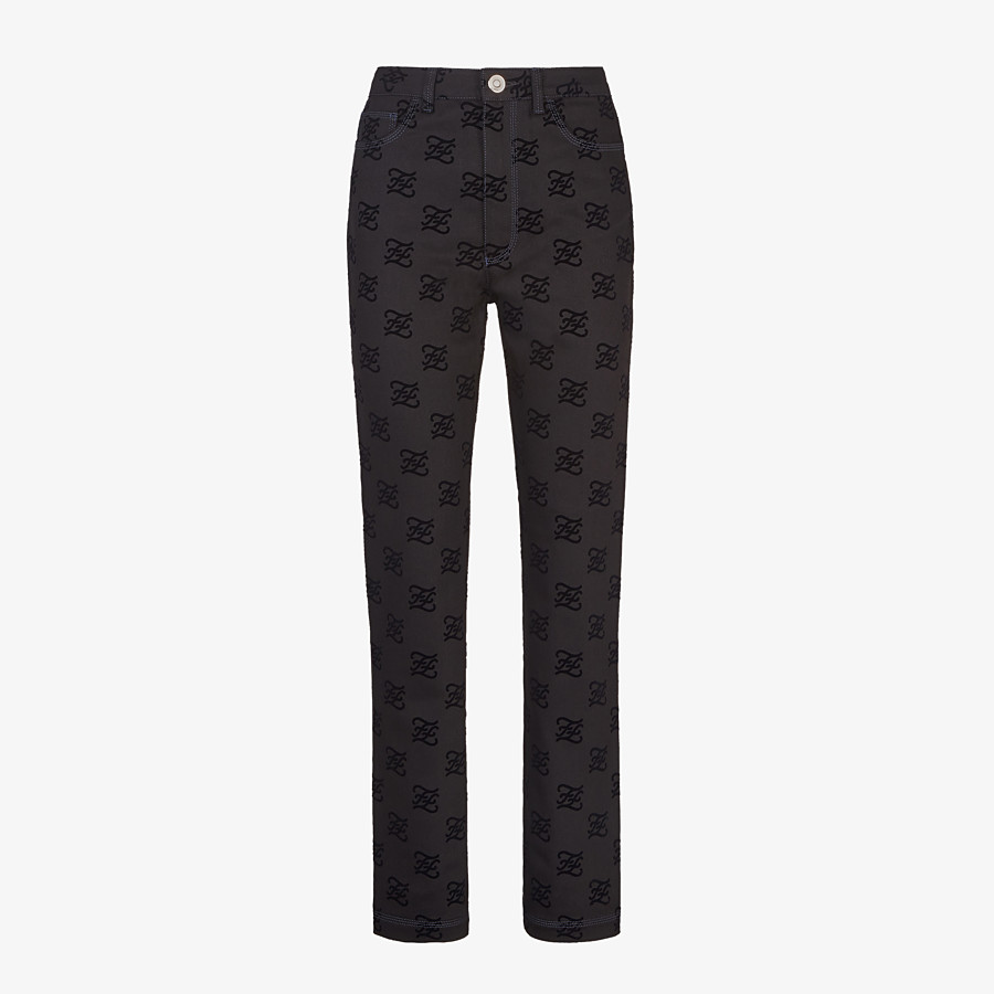 FENDI TROUSERS - Black denim trousers - view 1 detail
