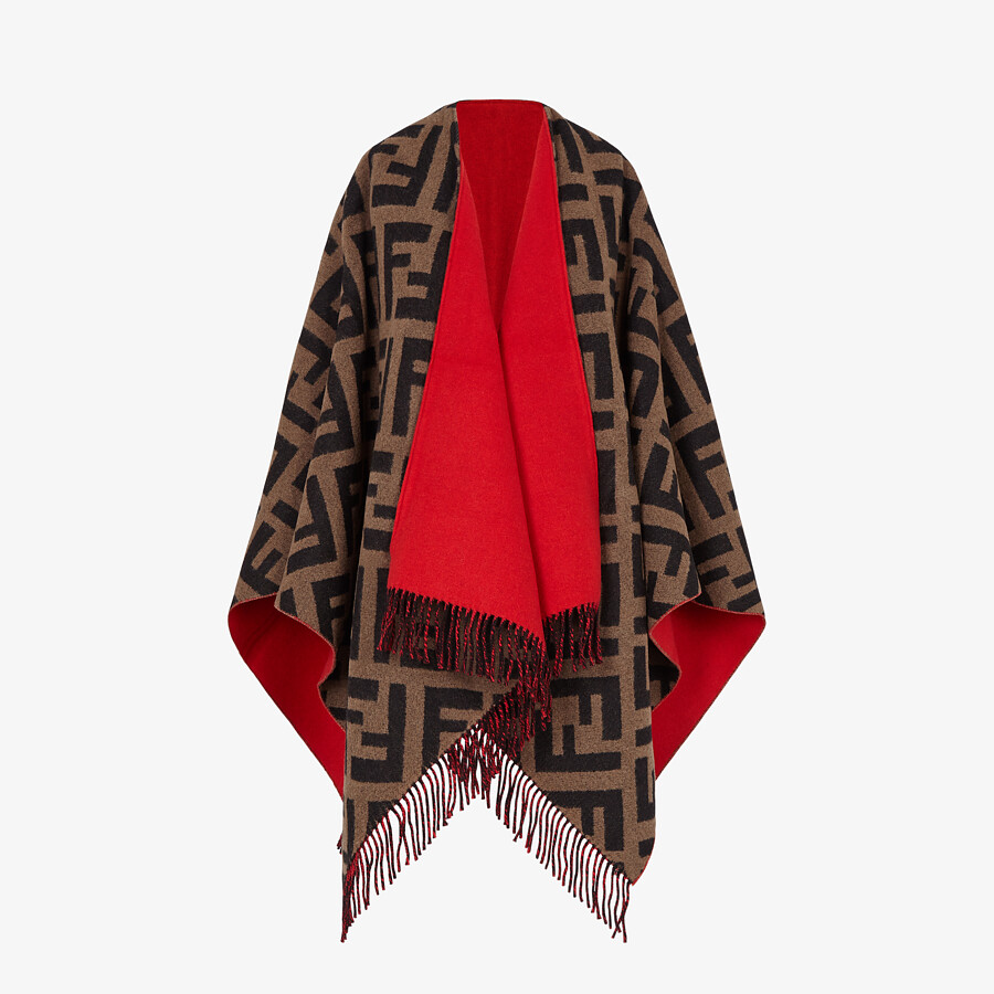 FENDI PONCHO - Multicolour wool and cashmere poncho - view 4 detail