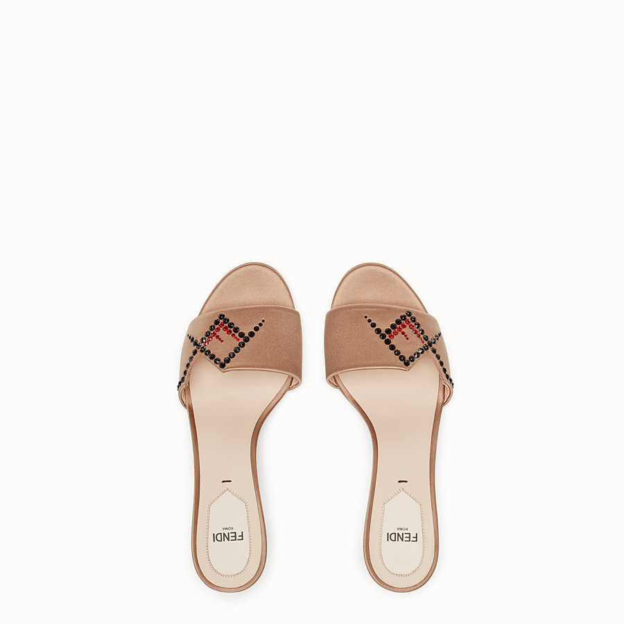 FENDI SLIDES - Beige satin slides - view 4 detail