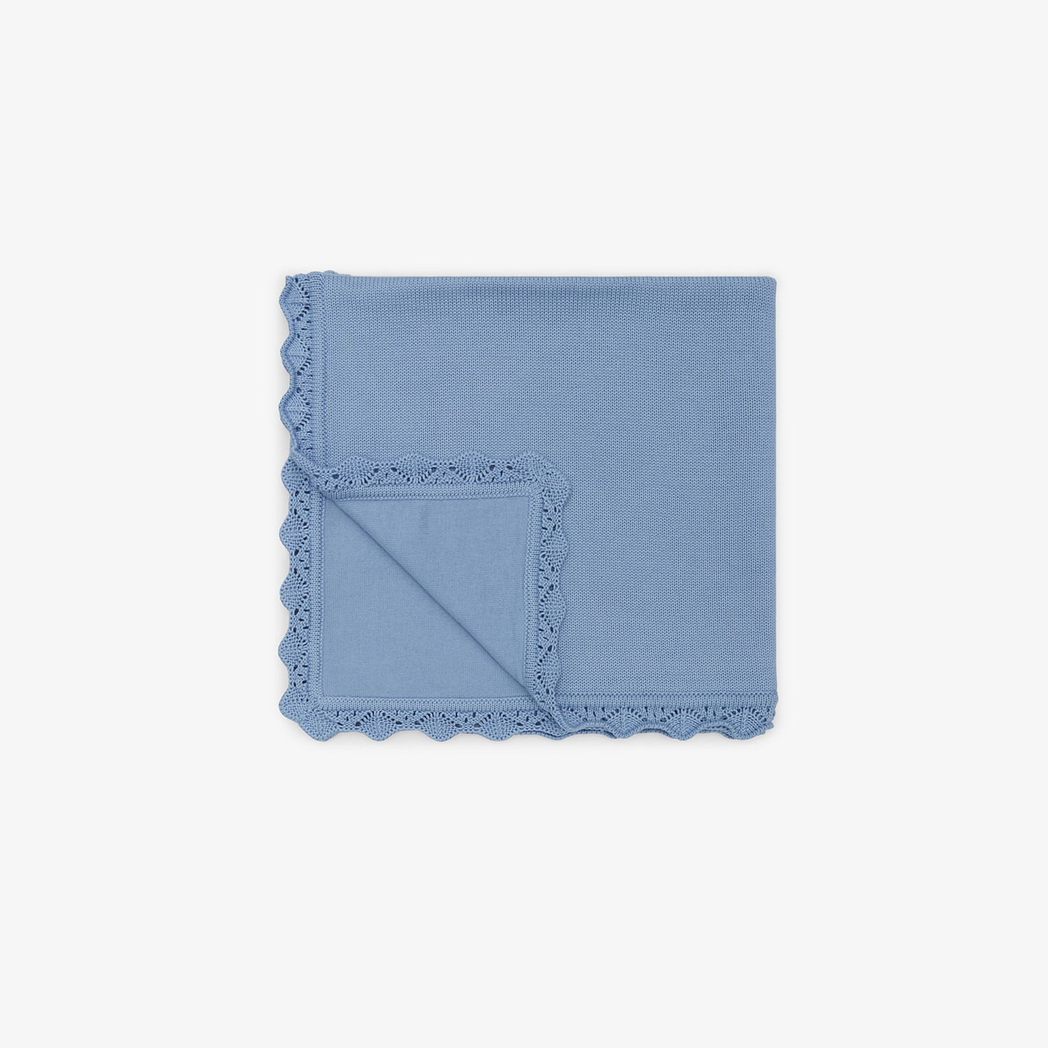 FENDI KNITTED BABY BLANKET - Cotton and cashmere blanket with embroidery - view 2 detail