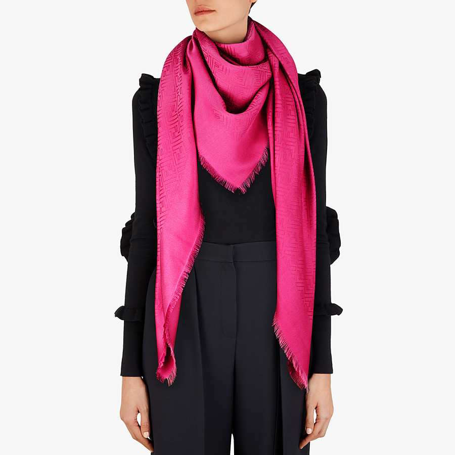 FENDI SCIALLE FF - Scialle in seta e lana fucsia - vista 3 dettaglio