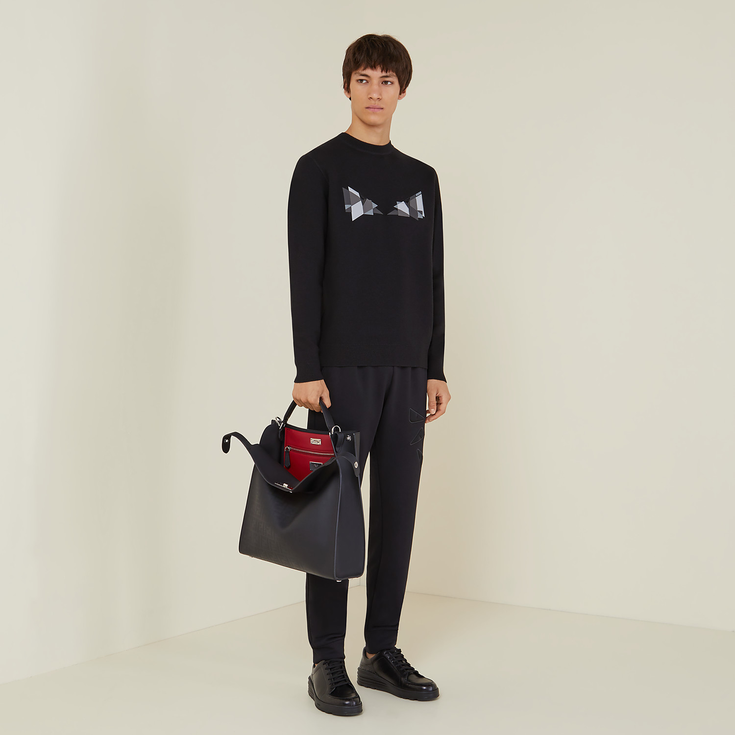 FENDI PEEKABOO X-LITE FIT - Black calfskin bag - view 7 detail