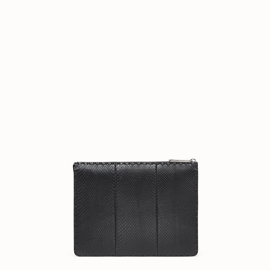 FENDI CLUTCH - Black python leather pochette - view 3 detail
