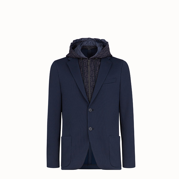 FENDI JACKET - Blue cotton jersey blazer - view 1 small thumbnail