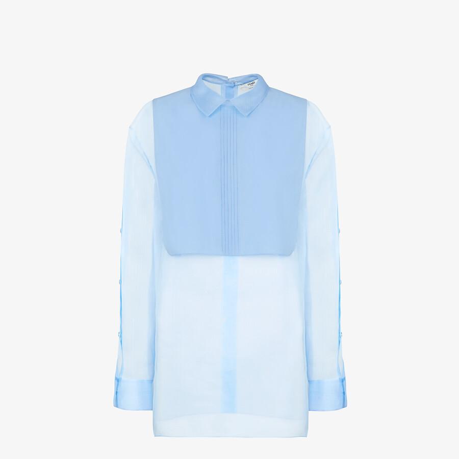 FENDI SHIRT - Light blue silk shirt - view 1 detail
