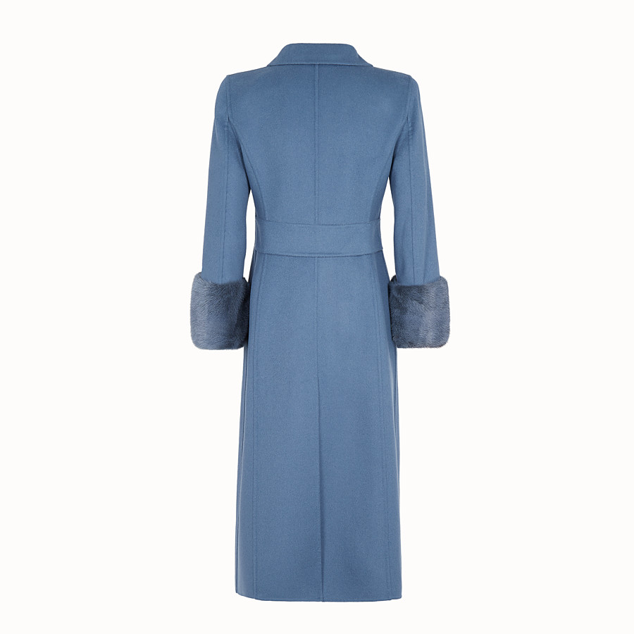 FENDI OVERCOAT - Blue wool overcoat - view 2 detail