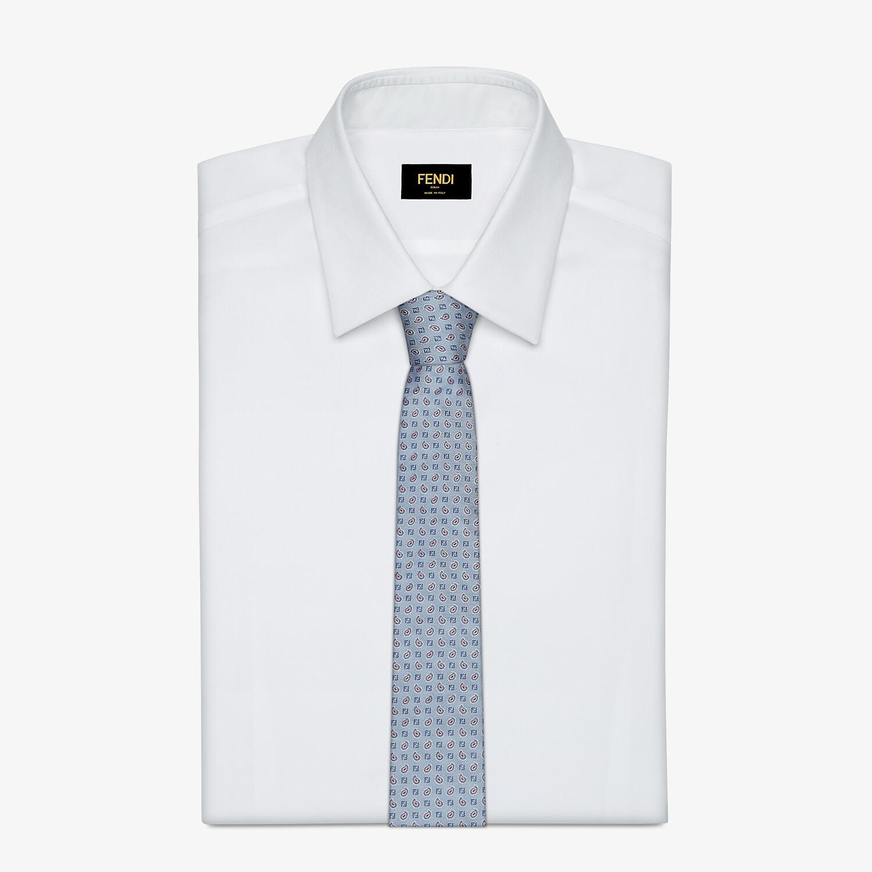 FENDI TIE - Light blue silk tie - view 2 detail