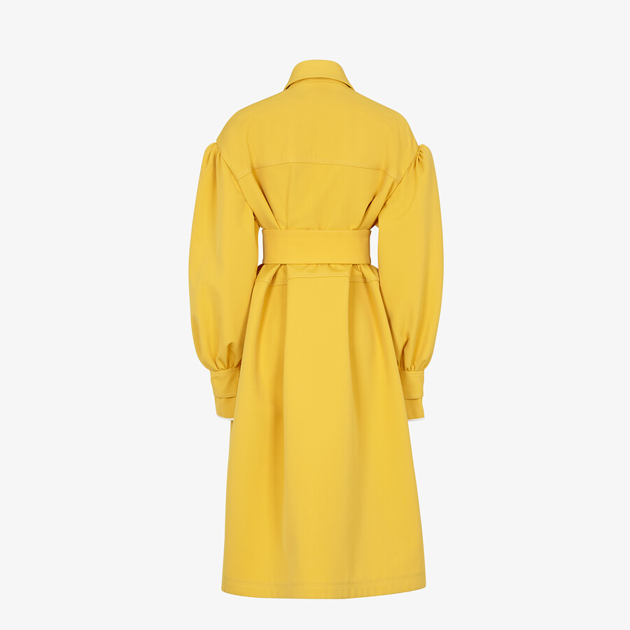 FENDI COAT - Yellow gabardine coat - view 2 detail